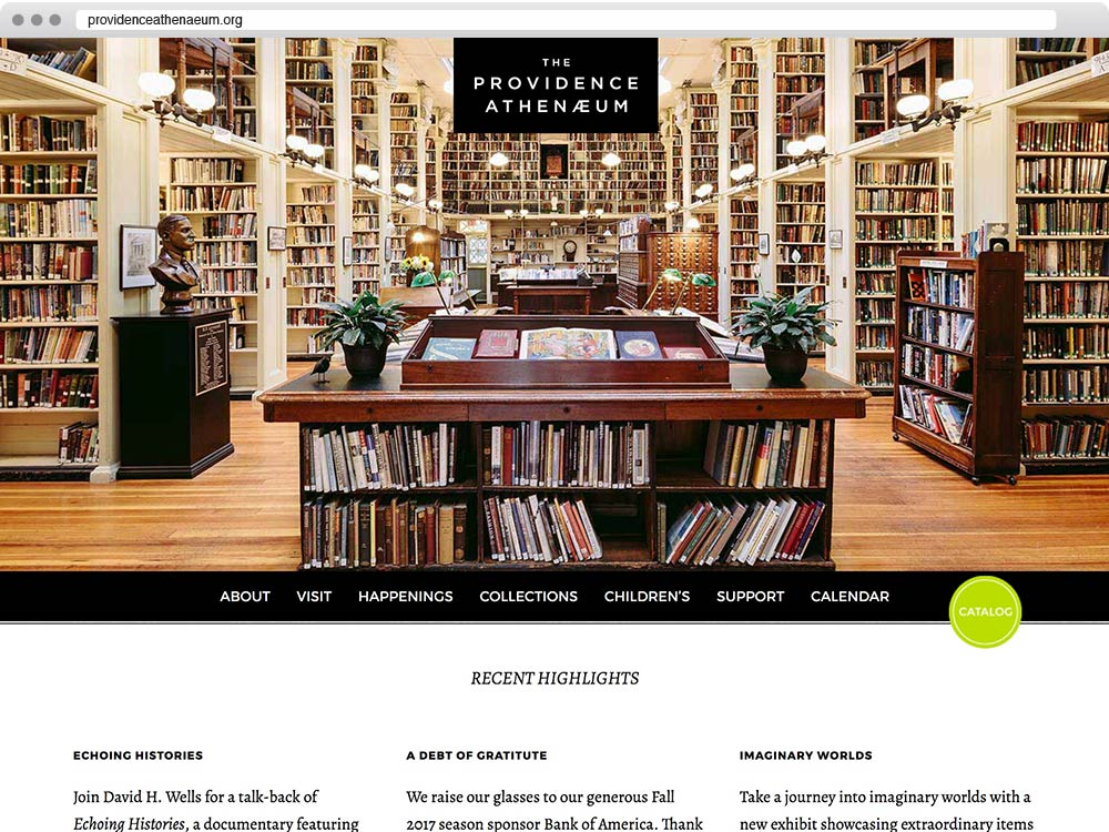 Website design for the Providence Athenaeum
