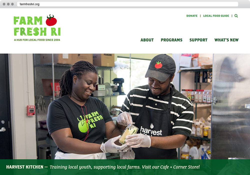 Website designed for Farm Fresh RI